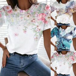 ❤️Womens Floral Print Short Sleeve T Shirt Ladies Casual Loose Blouse Tunic Tops $15.79