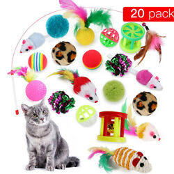 Pet Cats Interactive Toy Ball Stick Mouse Feather Supplies Funny Toys Bundle $13.04