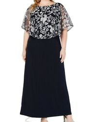 Connected Apparel Womens Dress Blue Size 24W Plus Maxi Embroidered $99 253 $31.18