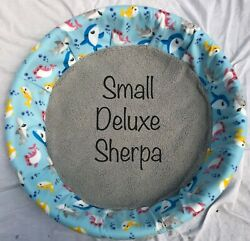 New Small Deluxe Sherpa Fleece Dog Whelping Pool Liner Round Dog Bed Cover Pets $54.99