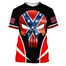 Skull Confeder States Of American Flag 3D All Over Printed S 5XL $28.13