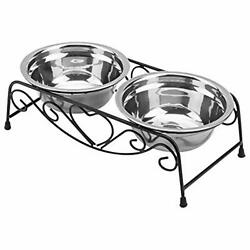 Stainless Steel Raised Pet Bowls wtih Double Dog Cat Food Elevated Stand for Pet $29.68