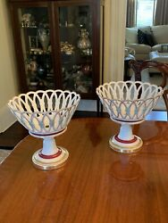 Rare Antique Pair Of French Old Paris Porcelain Compotes Collamore $895.00