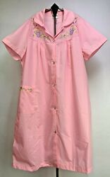 Vtg Sears Womens House Dress Embroidered Pearl Snap Short Sleeves Size XL NOS $20.63