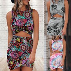 ❤️Womens Sexy Sleeveless Floral Bodycon Mini Dress Ladies Party Cocktail Dresses $16.62