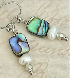 Stunning Silver Abalone and Freshwater Pearl Earrings. Beach $7.99