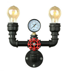 Industrial Water Pipe Wall Sconce 2 Light Steampunk Lighting Wall Light Fixture $54.99