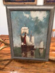ANTIQUE COLONIAL SHIPS COLUMBUS SAILING DISCOVERY OIL ON CANVAS 1800's PAINTING $140.00