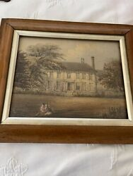 Antique Period Watercolor W Maple Frame 19th C. $175.00