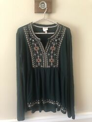 Knox Rose Womens Dark Green Top Embroidered Long Sleeve Boho Size XXL $12.99