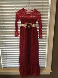 Think Pink Bows Custom Red Lace Maxi Dress for Girls with Sash Size 7 $29.99