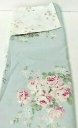 SHABBY CHIC FULL Standard PILLOW SHAM Blue Pink Rose Cotton NEW FREE SHIPPING $14.99