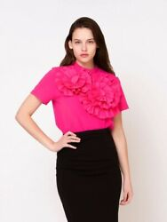 Gracia Fuchsia Top with Flower Decoration Size M $35.00