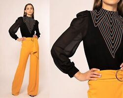 Gracia Long Sleeve Black Top with Embroidery Size S $35.00