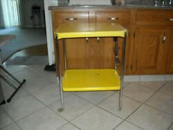 Vintage Yellow Metal Kitchen Utility Cart With Electric $99.99