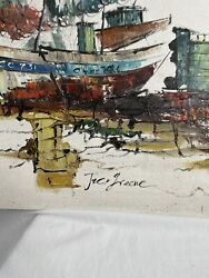 Jack Greene Oil on Canvas Fishing Boats at Dock. Signed mid century large art $210.00