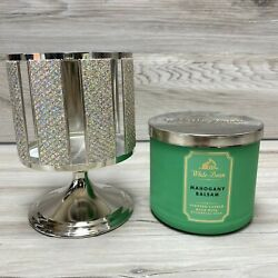 Bath and Body Works mahogany balsam Candle White Barn with Candle Holder Stand $29.70