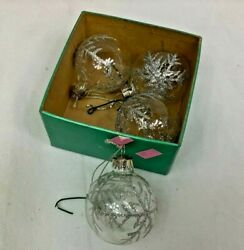 Snowflake Christmas Tree Ornament Décor Set of 4 quot; Glass Glitter Sliver $9.75