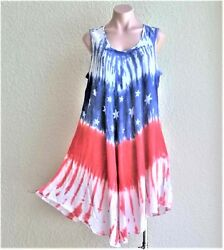 India Boutique Red White Blue American Flag Short Dress Cover Up ONE SIZE NWT $14.99