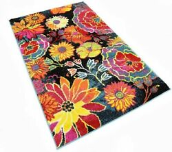 Collection Modern Floral Area Rug in Black Yellow Stylish Modern Room Ideas $105.00