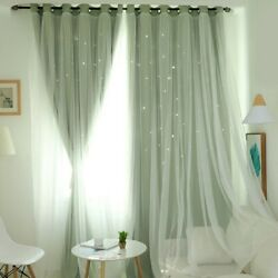Home Bedroom Sheer Blackout Curtains Double Layer Starry Floor Living Room Decor $22.99