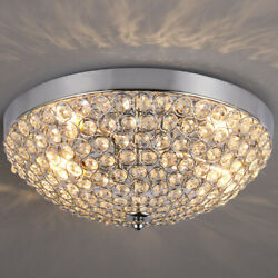 11.8 Inches Clear Crystal Beads Bowl Shaped Chandelier Crystal Ceiling Light $41.88