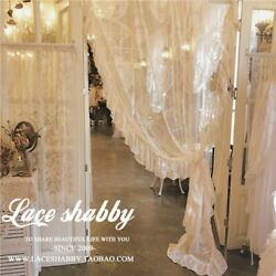 French Rococo Vintage Garland Embroidered Curtains White Sheer Curtain Window $42.77