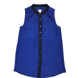 J. CREW Womens Size 0 Blue Berry Chest Flap Pockets Button Up Sleeveless Blouse $13.97