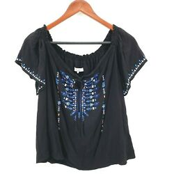 Parker Womens Size Small Black Aztec Embroidered Off The Shoulder Peasant Top $17.99