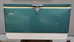 Vtg 70#x27;s Green Metal Coleman 72 Qt Cooler Ice Chest w Inserts Bottle Openers 28quot; $99.99