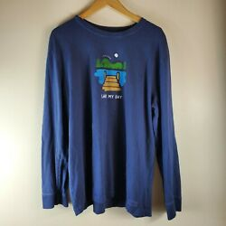 Life Is Good Crusher Tee Classic Fit shirt Men Lake My Day blue long sleeve xl $17.49