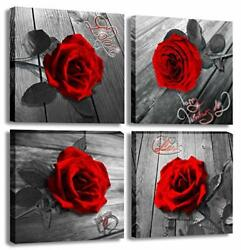 Red Rose Canvas Wall Art Flower Canvas Print Black and White Wall Paintings f... $39.53