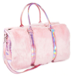 Shagadelic Pink Faux Fur Bag Large with Rainbow $55.00