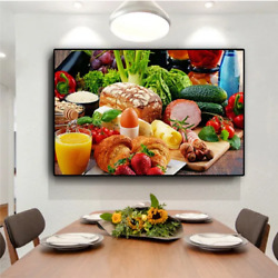 Vegetables Bread Fruits Kitchen Canvas Painting US.Canvas Frame $40.00