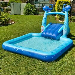 INFLATABLE NOVELTY KIDS POOL WITH SLIDE WHALE PREFECT LIGHT BLUE $105.99