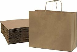 Brown Kraft Paper Bags with Handles Birthday Parties Restaurant takeouts... $15.00