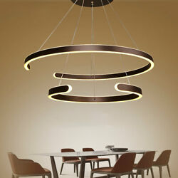 Gold Ceiling Lamp Light 80W LED Chandelier Fixtures 2 Circle Ring LED Strips New $114.00