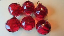 12 Round Red CHANDELIER DROPS CRYSTALS GLASS VINTAGE $24.99