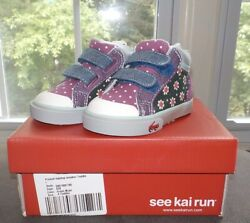 See Kai Run Baby Girls High Top Sneaker Green Floral Toddler Size 4 New in Box $22.99
