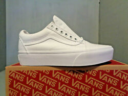 Womens Vans Old Skool Lace Up True White Platform Shoes NIB New Sizes Awesome $49.95