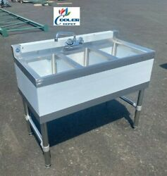 NEW 38quot; Commercial Under Bar Counter Sink 3 Compartment Kitchen w Faucet NSF