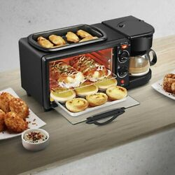 3in1 Breakfast Station Kitchen Coffee Maker Griddle Toaster Oven Multifunction $62.31