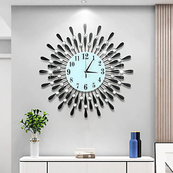 Large Fancy Wall Clock 3D Decoration for Home Living Room Kitchen Bedroom Office $125.95