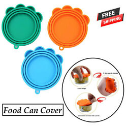 Pet Food Can Cover Universal Silicone Cat Dog Food Can Lids BPA Free 3Pcs set $7.25