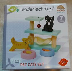 Tender Leaf Toys Pet Cats Set 7 Wooden Pieces. Never Used $7.00
