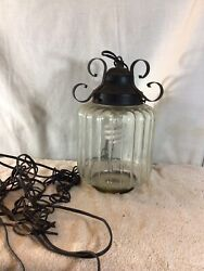 Cool Ribbed Glass amp; Metal Hanging Plug In Light With Roll Switch pre owned $35.99