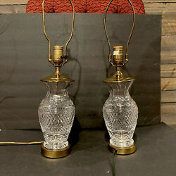 Pair Of Vintage Waterford Cut Crystal amp; Brass Lismore Table Lamp . 2 Lamps $199.99