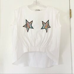 NEW Do Be Sequin Star Cotton Poplin Blouse Top Size Large L $19.00