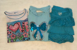 Girls Clothes Lot of 3 Size 12 Shirts Aqua Blue Pretty Sequins Pre Owned $6.00