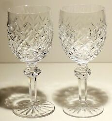 2 VINTAGE WATERFORD CRYSTAL POWERSCOURT WATER GLASSES 7 5 8quot; TALL $119.99